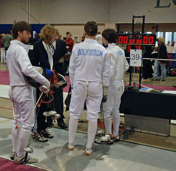 The start of the pools in Junior Men's Epee.
