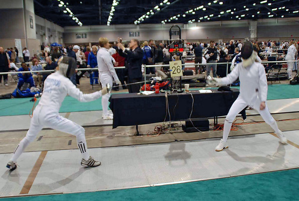 Annie Stephenson, left, in the Junior Women's Epee.