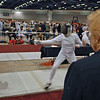 Annie Stephenson (right) fencing in the Cadet Women's Epee.
