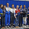 The finalists in Cadet Women's Epee.  From left: Jessica O'Neill (7th), Nik Nik Ameli (5th), Grace Neveu (3rd), Katharine Holmes (1st), Oksana Samorodov (2nd), Kathryn Bernstein (3rd), Kimberly Howell (6th), Victoria Wines (8th).