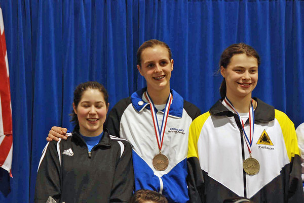 The US Cadet World Championship Team to compete in Belfast, Ireland in April.  From left, Sarah Collins, Grace Neveu, Katharine Holmes.