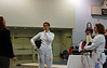Coin toss for Siobhan Fabio and her opponent in Division II Women's Epee.