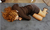 Ella Barnes napping after the Cadet Women's Epee.