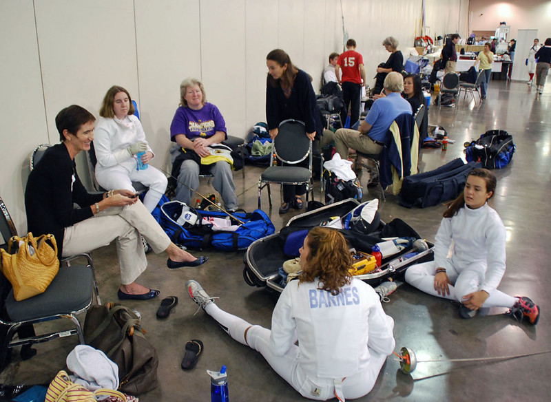 The Chevy Chase Fencing Club crew before the start of the Division III Women's Epee.