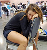 Ella Barnes resting after the Cadet Women's Epee.