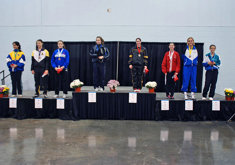 The finalists in Cadet Women's Epee.  From left: Lousie Fournier* (8), Katharine Holmes (6), Chantal Montrose (3T), Simi Caroussos* (1), Sarah Collins (2), Ashley Severson (3T), Grace Neveu (5), Nina Van Loon (7).  *Canadian citizen.
