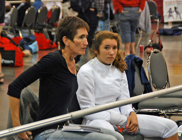 Ella Barnes and her mom, Fran Barnes watching the Cadet Women's Epee.