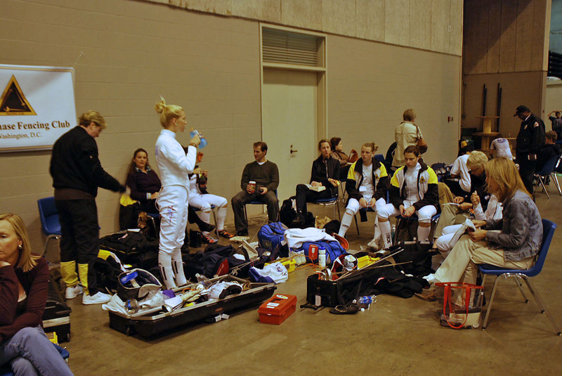 The Chevy Chase Fencing Club fencers between rounds at the Cadet Women's Epee.