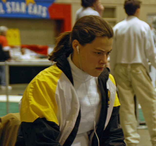 Katharine Holmes focusing on the competition between rounds.
