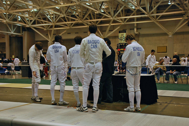 Ben Cohen in the Junior Men's Epee as the pool is gathered by the referee.