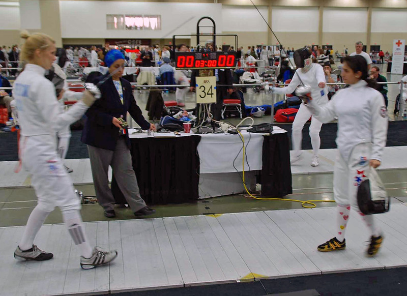 Annie Stephenson (left) in the Junior Women's Epee.