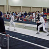 Annie Stephenson, right, fencing in the Junior Women's Epee.