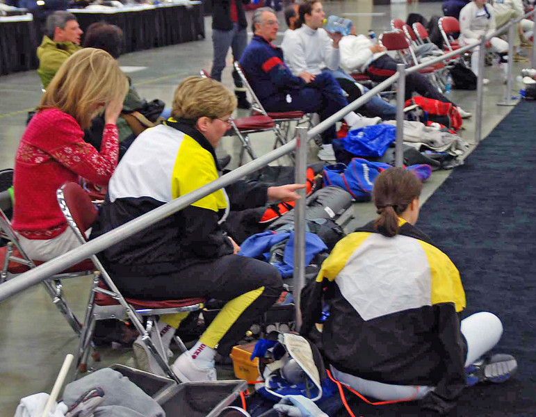 Coach Jean Finkleman and Katharine Holmes observe Kat's opponents in the Junior Women's Epee.