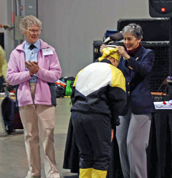 Bettie Graham receives her 3rd place medal in Veteran 60+ Women's Epee.