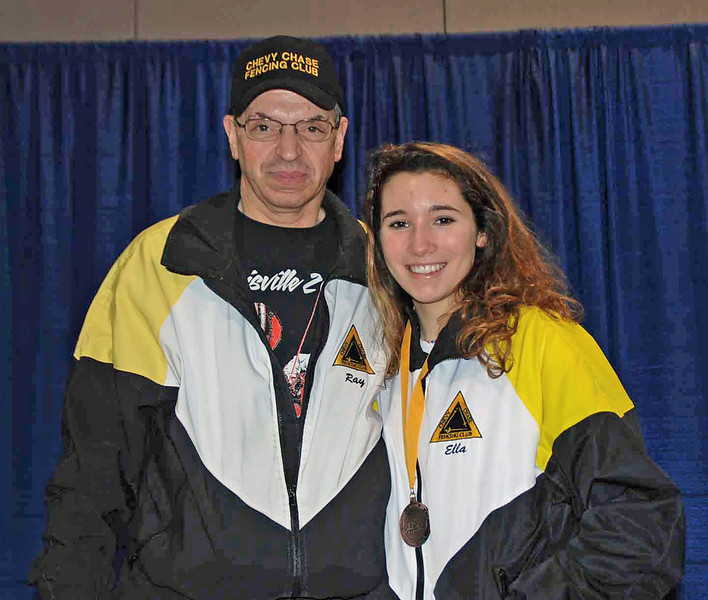 Ella Barnes with her coach, Raymond Finkleman, after winning her first national medal (5th place, Division III Women's Epee).
