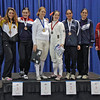 The finalists in Division III Women's Epee.  From left: Julee Floyd (7th), Ella Barnes (5th), Anahit Campbell (3rd), Gaelyn Park (1st), Lauren Helfrich (2nd), Komal Kumar (3rd), Madalyn Macarr (6th), and Kendra Sievers (8th).
