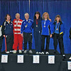 The finalists in Veteran 60+ Women's Foil.  From left:  Bettie Graham (7th), Diane Reckling (5th), Terry Abrahams (3rd), Ellen O'Leary (1st), Joanne Stevens (2nd), Patricia Lutton (3rd), Madelon Rosenfeld (6th), and Catherine Radle (8th).