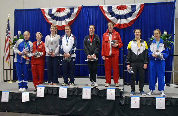The finalists in Division I Women's Epee.  From left: Joanna Guy (8th), Neely Brandfield-Harvey (6th), Kelley Hurley (3rd), Courtney Hurley (1st), Lauren Willock (2nd), Lindsay Campbell (3rd), Katharine Holmes (5th), Hannah Safford (7th).