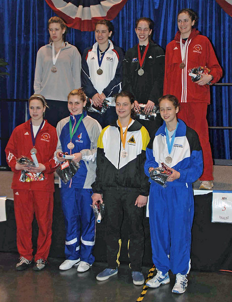 The finalists in Division I Women's Epee.  From left, front row: Neely Brandfield-Harvey (6th), Joanna Guy (8th), Katharine Holmes (5th), Hannah Safford (7th).  Back row: Kelley Hurley (3rd), Courtney Hurley (1st), Lauren Willock (2nd), Lindsay Campbell (3rd).