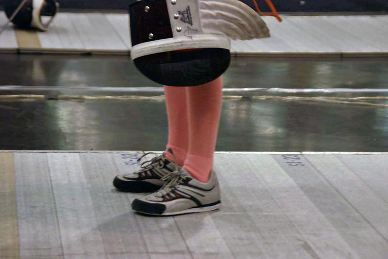 Lizzie Wiggins' pink socks in the Y10 Women's Epee.