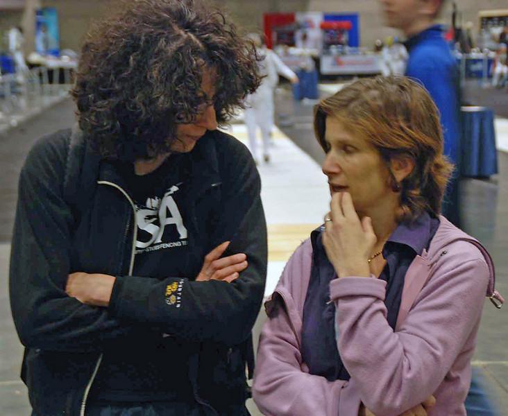Fencer Valerie Asher (left) speaks to former Yale med school classmate Naomi Sitbon-Taylor.