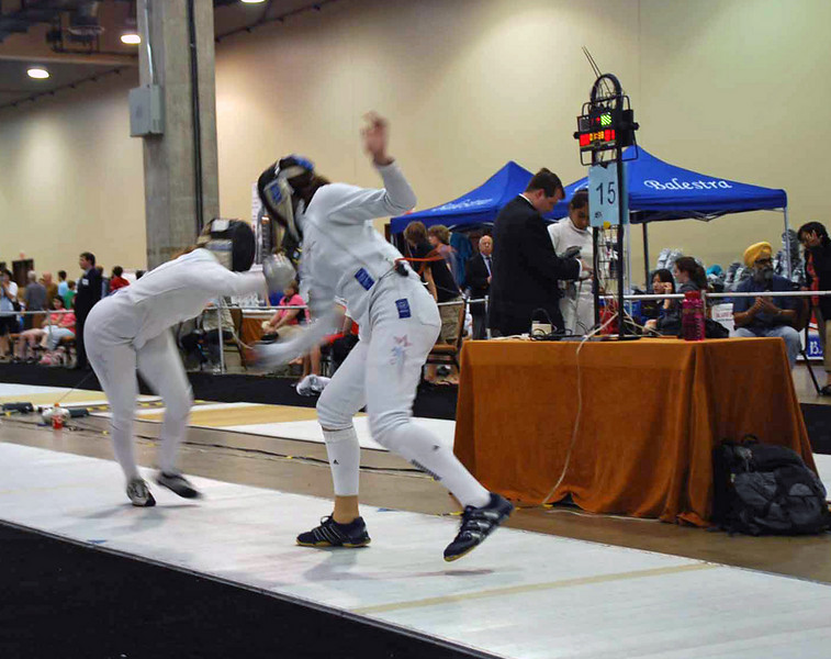 Katharine Holmes, right, U19 Women's Epee.