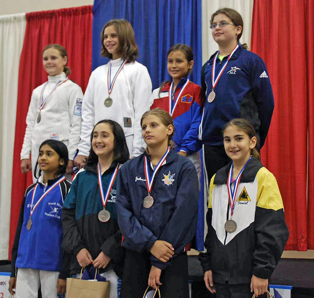 The finalists in Y10 Women's Epee.  From left, top: Camille Simmons (3rd), Giana Vierheller (1st), Farrah Lee-Elabd (2nd), Pauline Hamilton (3rd); bottom: Saanchi Kukadia (8th), Talia Yukelson (6th), Audrey Seim (5th) and Elizabeth Wiggins (7th).