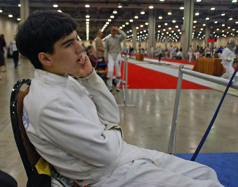 Daniel Wiggins warms up before the U16 Men's Epee event.