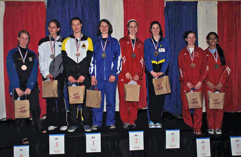 The U19 Women's Epee finalists.  From left: Emily D'Agostino (8th), Kathryn Bernstein (6th), Katharine Holmes (3rd), Juleah Nusz (1st), Neely Brandfield-Harvey (2nd), Jessica O'Neill (3rd), Ashley Severson (5th) and Amrit Bhinder (7th).