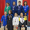 The finalists in Y12 Women's Epee.  From left, top row: Dominique Tannous (3rd), Jennifer Horowitz (1st), Katie Angen (2nd), Audrey Yun (3rd).  Bottom row: Sarah Waller (8th), Rita Somogyi (6th), Sofija Stanisic (5th), and Olivia Morreale (7th).