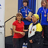 Bettie Graham receives her 5th place medal in the Veteran-60+ Women's Foil.