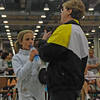 Olivia Morreale confers with Coach Jean Finkleman in the Y14 Women's Epee.
