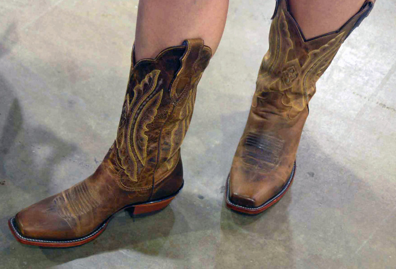 Since we are in Texas, Nina Moiseiwitsch shows off her new cowgirl boots.