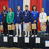 The finalists in Y12 Women's Epee.  From left: Sarah Waller (8th), Rita Somogyi (6th), Dominique Tannous (3rd), Jennifer Horowitz (1st), Katie Angen (2nd), Audrey Yun (3rd), Sofija Stanisic (5th), and Olivia Morreale (7th).