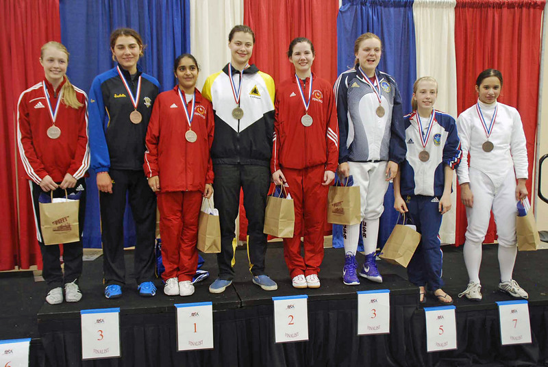 The finalists in the U16 Women's Epee.  From left: Catherine Lee (8th), Isabella Barna (6th), Mandeep Bhinder (3rd), Katharine Holmes (1st), Ashley Severson (2nd), Emma Peterson (3rd), Aleina Edwards (5th), and Isabel Ford (8th).