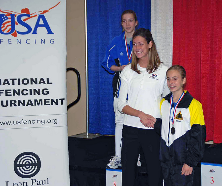 Olivia Morreale receives her first national medal, 7th place in Y12 Women's Epee.