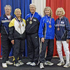 The finalists in Veteran-60+ Women's Epee.  From left: Patricia Bedrosian (2nd), Bettie Graham (3rd), Cynthia Runyon (1st), Patricia Lutton (5th) and Ruth Anderson (7th).