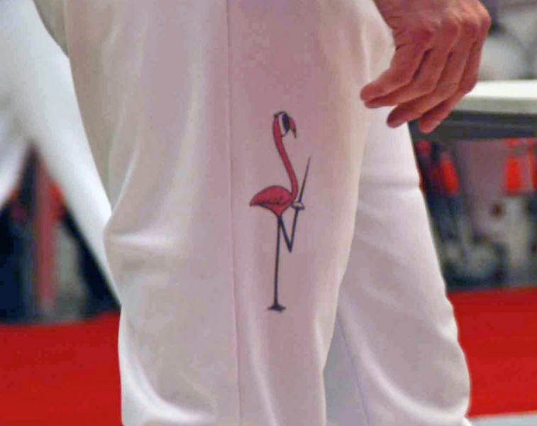 "Bob Cochrane, from Florida, has a fencing pink flamingo on his knickers.  Bob is also famous for ""Bob's Socks""."
