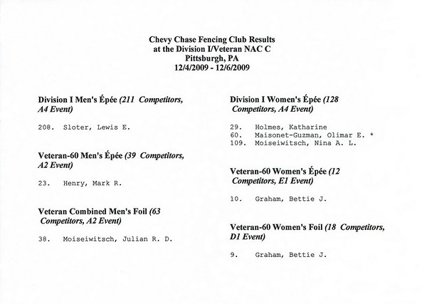 Chevy Chase Fencing Club results at the 2009-2010 NAC C in Pittsburgh, PA.