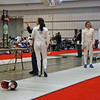 Olimar Maisonet (left) vs Isabella Barna in the round of 64 of the Division I Women's Epee.