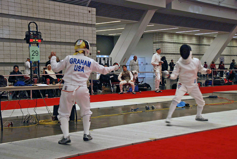 Bettie Graham competing in the Veteran-60 Women's Epee.