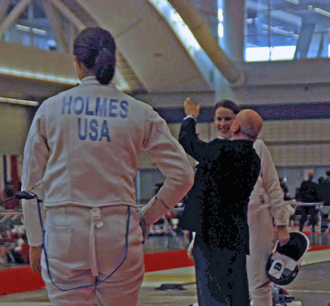Katharine Holmes vs Emily D'Agostino in the round of 32 of the Division I Women's Epee.