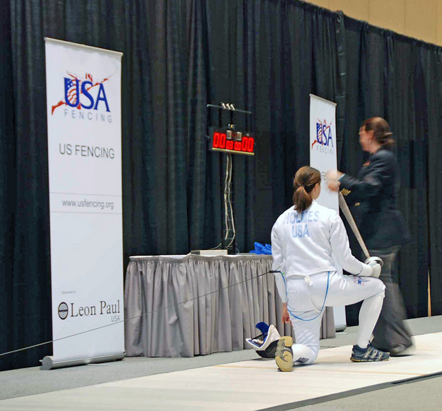 Katharine Holmes is refereed by Lisi Campi in the gold medal bout of Junior Women's Epee.
