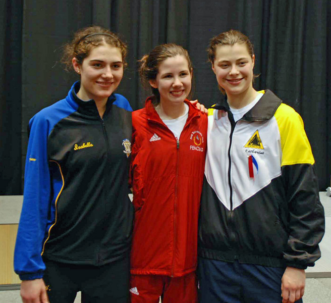 The 2010 US Cadet World Championship Team.  From left: Isabella Barna, Ashley Severson, Katharine Holmes.