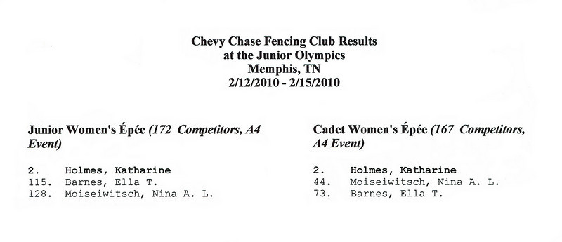 Chevy Chase Fencing Club results at the 2010 Junior Olympic Championships.  Katharine Holmes became a member of both the Cadet and Junior US World Championships Teams!
