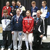 The finalists in Junior Women's Epee (joined by Ashley Severson, top left).  Top row, from left: Ashley Severson, Isabella Barna (1st), Katharine Holmes (2nd), Anna Van Brummen (3rd), Hannah Safford (3rd).  Bottom row, from left: Nina Van Loon (5th), Neely Brandfield-Harvey (6th), Audrey Abend (7th), and Channing Foster (8th).