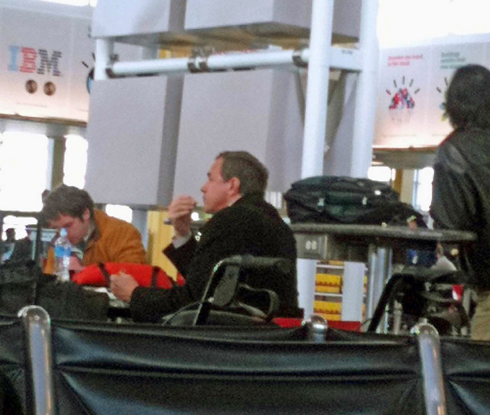 I spotted former President Bush eating at the food court at Reagan National Airport before my flight out to Memphis.  My original flight was cancelled due to weather, so I missed the Cadet Women's Epee event.