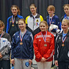 The finalists in Junior Women's Epee.  Top row, from left: Isabella Barna (1st), Katharine Holmes (2nd), Anna Van Brummen (3rd), Hannah Safford (3rd).  Bottom row, from left: Nina Van Loon (5th), Neely Brandfield-Harvey (6th), Audrey Abend (7th), and Channing Foster (8th).