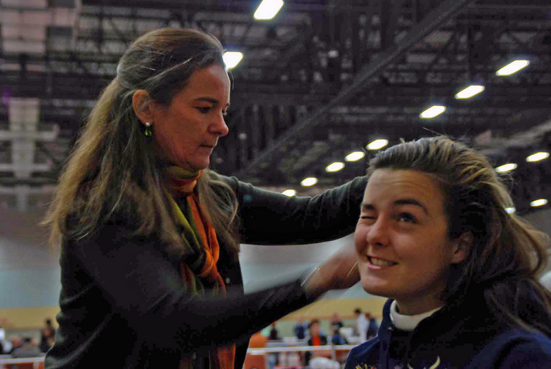 Nina Moiseiwitsch's mom helps her get ready for Division II Women's Epee.