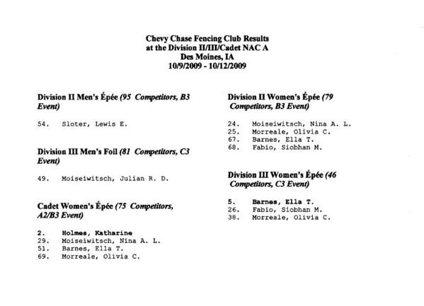Chevy Chase Fencing Club results at the 2009-2010 NAC A in Des Moines, IA.